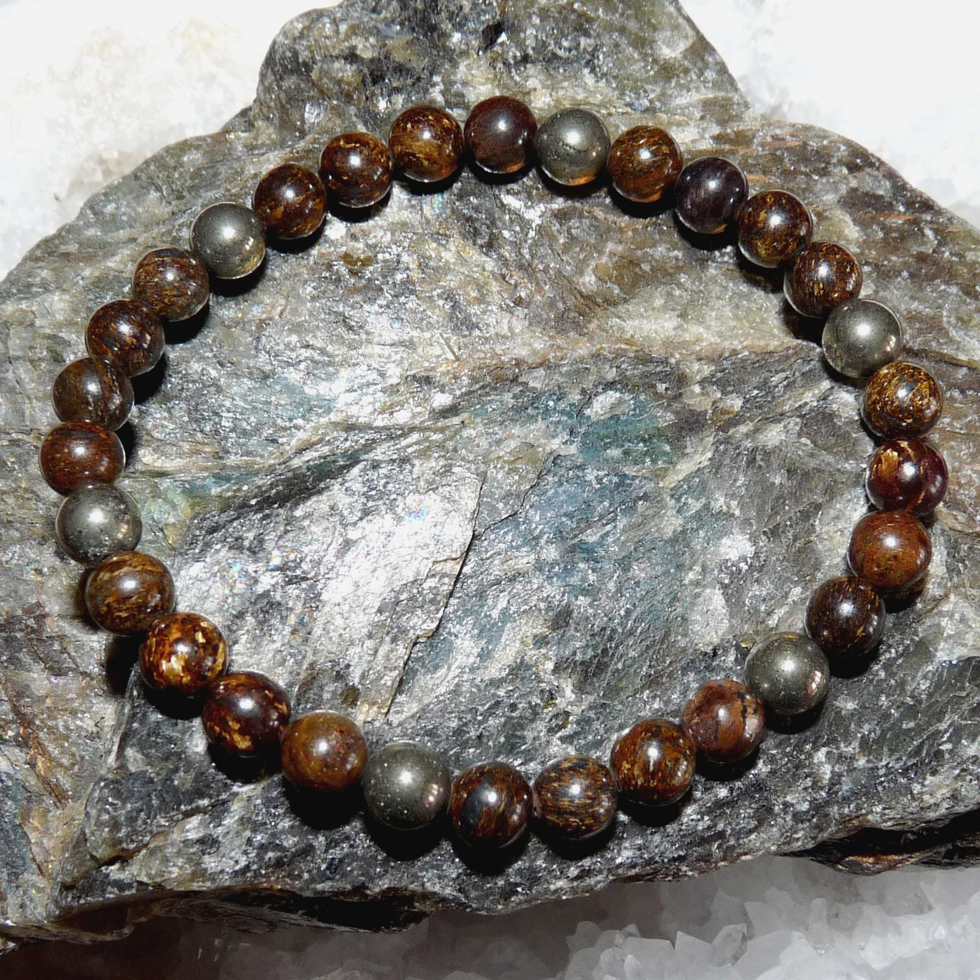 Bracelet Bronzite et Pyrite